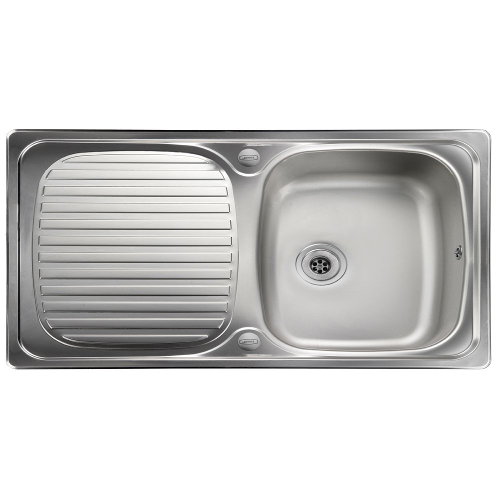 leisure linear 10 bowl polished stainless steel kitchen sink waste lr8001 p p15959 124170 zoom