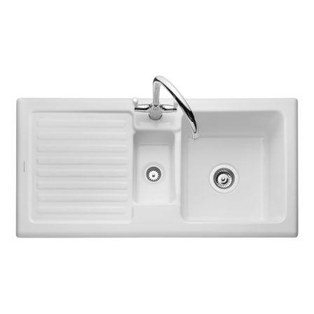 Rangemaster Rustic 15 Bowl White Ceramic Sink Waste Kit