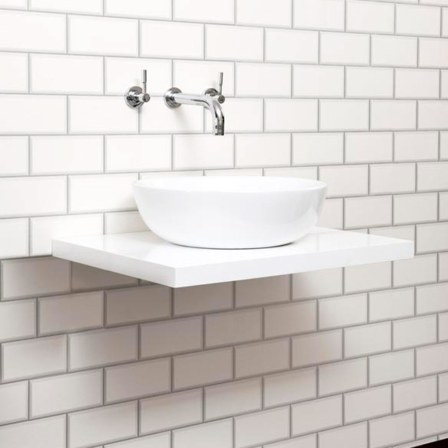 Countertop Basin And Gloss White Floating Shelf Tap