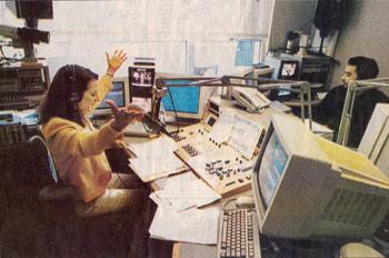Tara Fields in her control room at KPIX radio