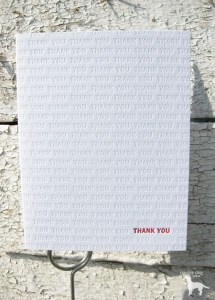 letterpress thank you card by paisley dog press, fleetwood, pa