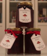 labelled jars of strawberry glam jam