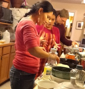 Nate and Ceci cooking with Lydia. Preparing best Enchiladas ever.
