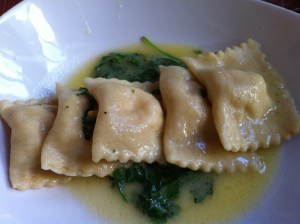 Crab Ravioli with Arugula Cream Sauce