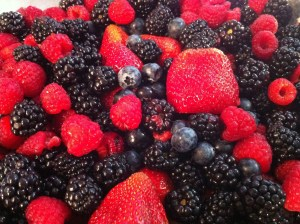 Strawberries, Blueberries, Blackberries, Raspberries.