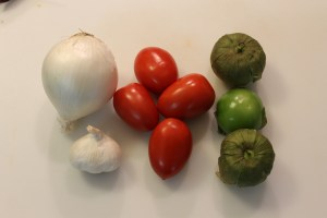 Onion, Garlic, Romas, Tomatillos