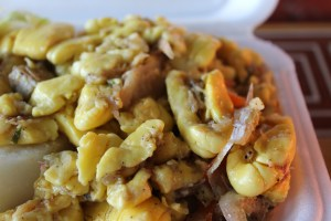 The more traditional Ackee & Saltfish made with salt cod.