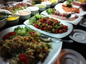 A few of the compound salads.  I will say this, they did lay out quite the selection of salads and fresh vegetables.