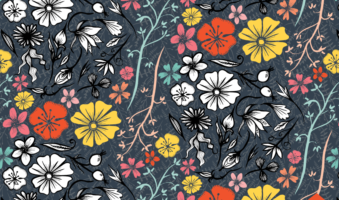 Inked Flowers on Grey Blue | © Tasha Goddard 2015 | www.tashagoddard.com
