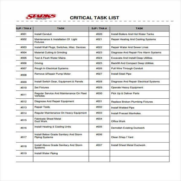 critical task list task list templates - equipment list samples