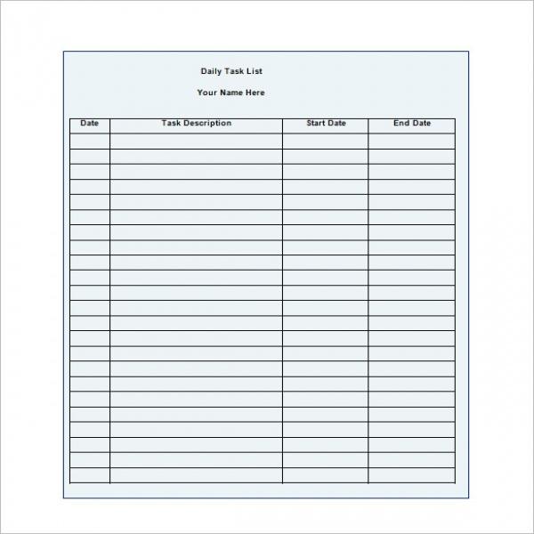 daily task list template task list templates