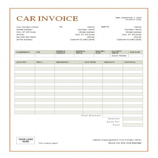 Vehicle Invoice Template task list templates