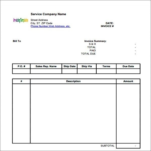 Generic Invoice task list templates - generic invoices printable