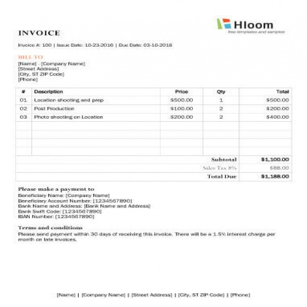 Photography Invoice Template task list templates - invoice template for photographers