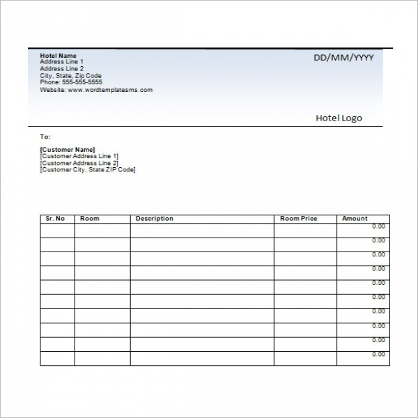 Sample Hotel Invoice 5 Examples In Pdf Word Excel Accommodation - Hotel Invoice
