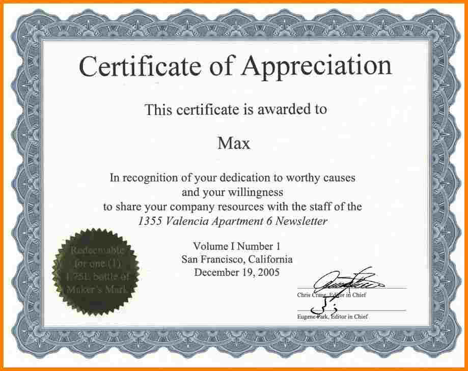 Certificate Of Appreciation Template Word task list templates