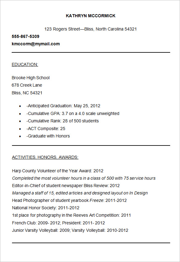 resume template for college applications - Onwebioinnovate