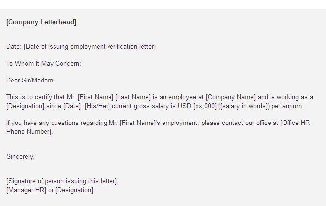 Employment Verification Letter For Visa task list templates