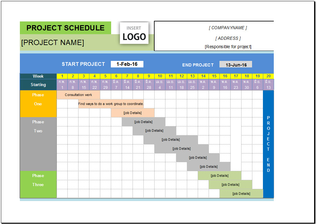 Project Management Calendar Template Excel Costumepartyrun