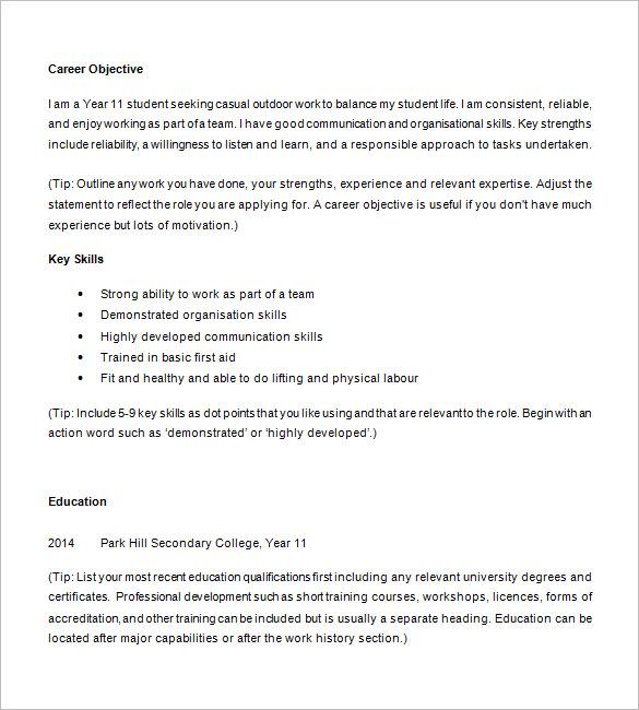 high school student resume template microsoft word 2010