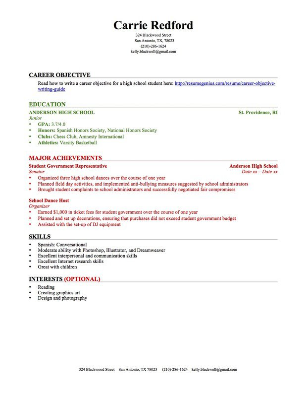 resumes for highschool students with no work experience