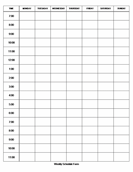 weekly hourly template