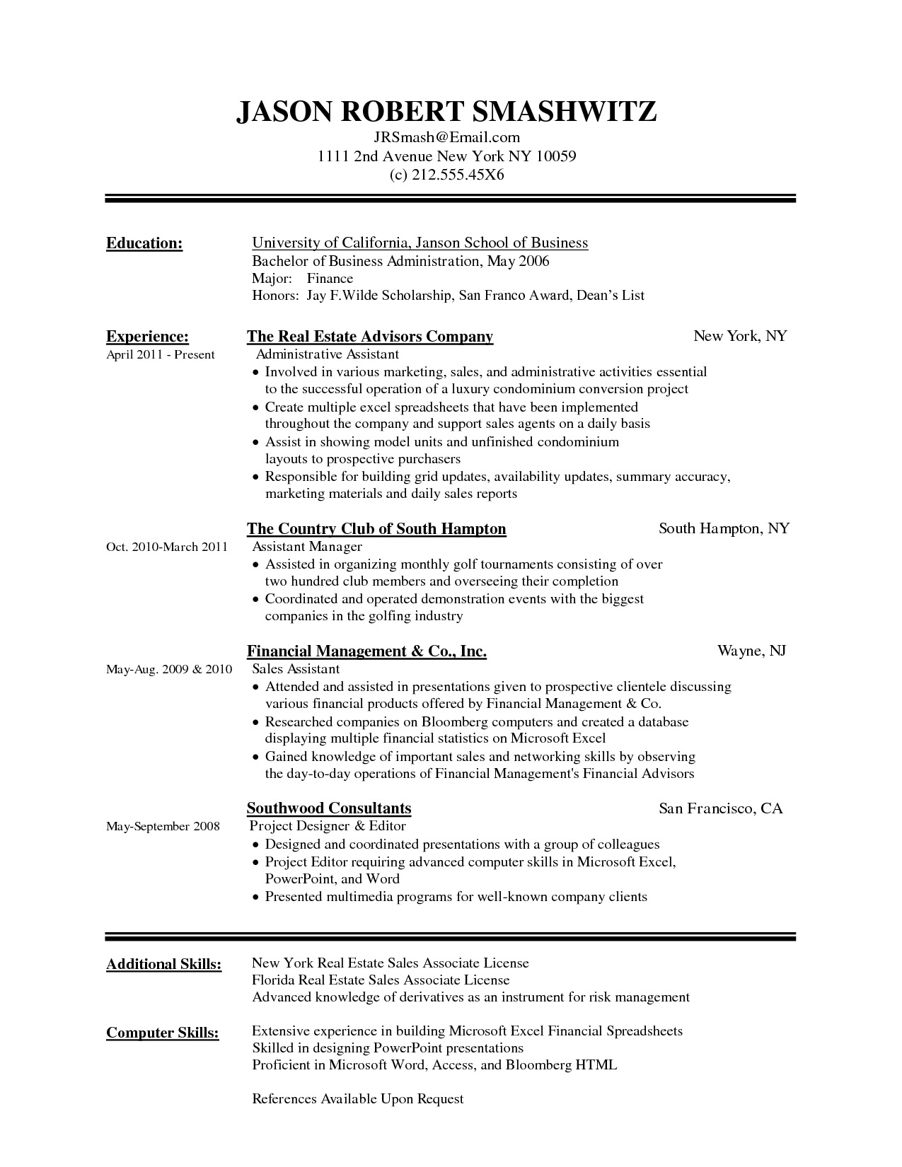 sample resume no experience ms word