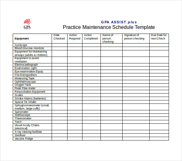 preventive maintenance template excel download