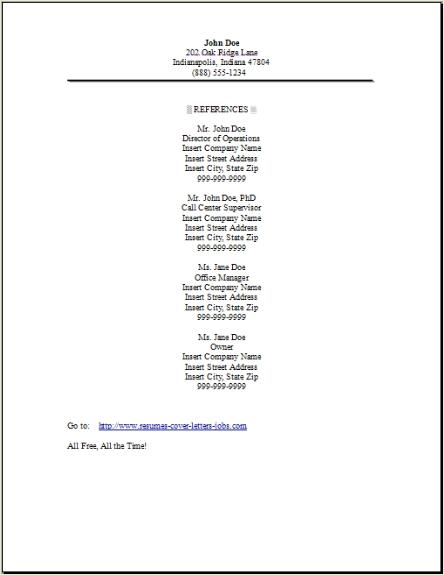 resume references page setup