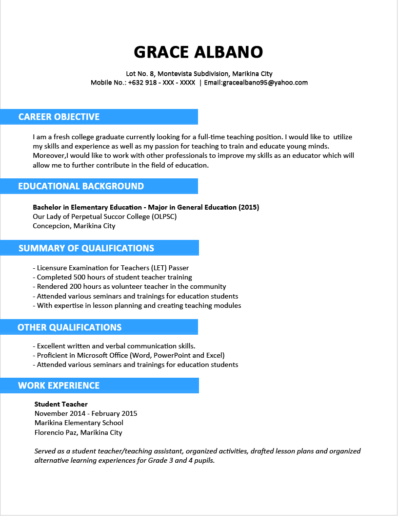 resume builder for fresh graduates
