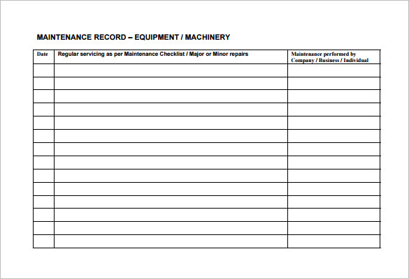 maintenance schedules templates