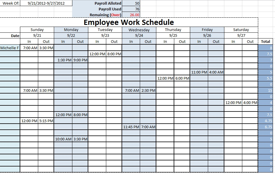 Monthly Employee Schedule Template Excel task list templates