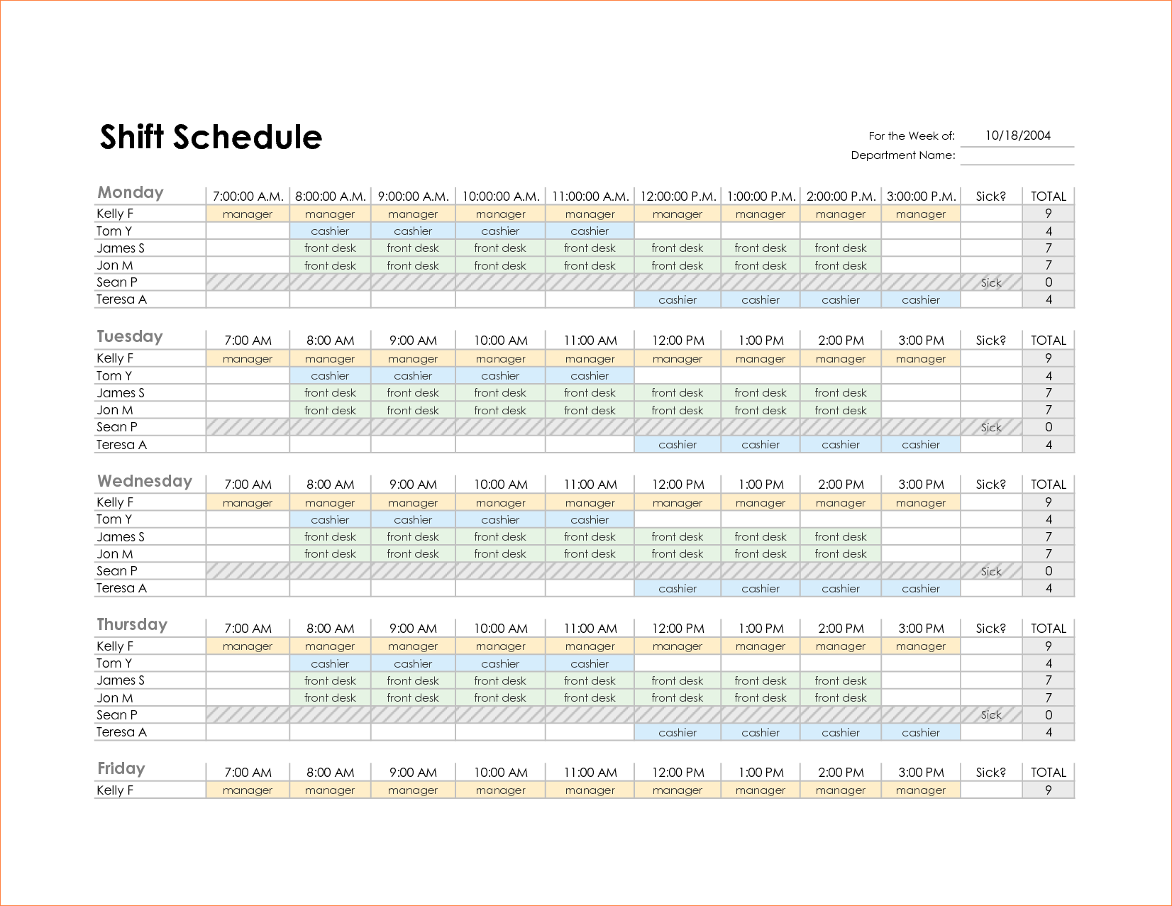 monthly schedule excel template