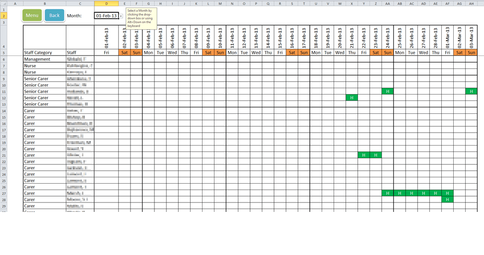 monthly duty roster template