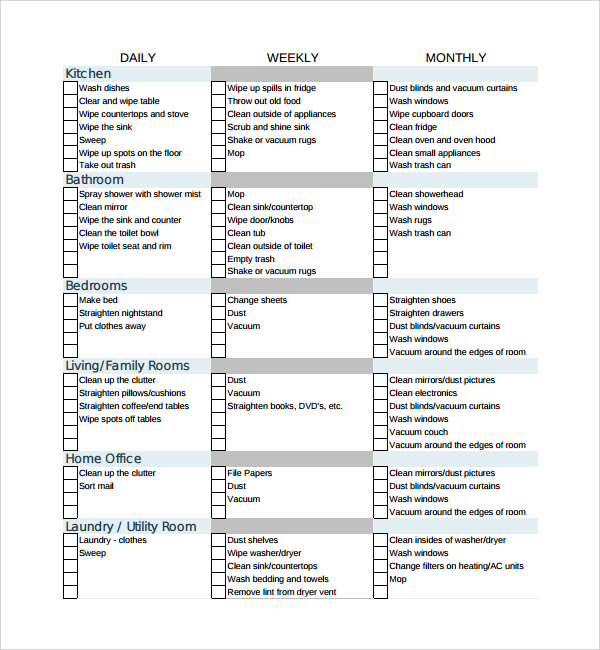 sample cleaning checklist