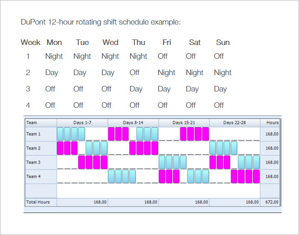 4 on 4 off work schedule template