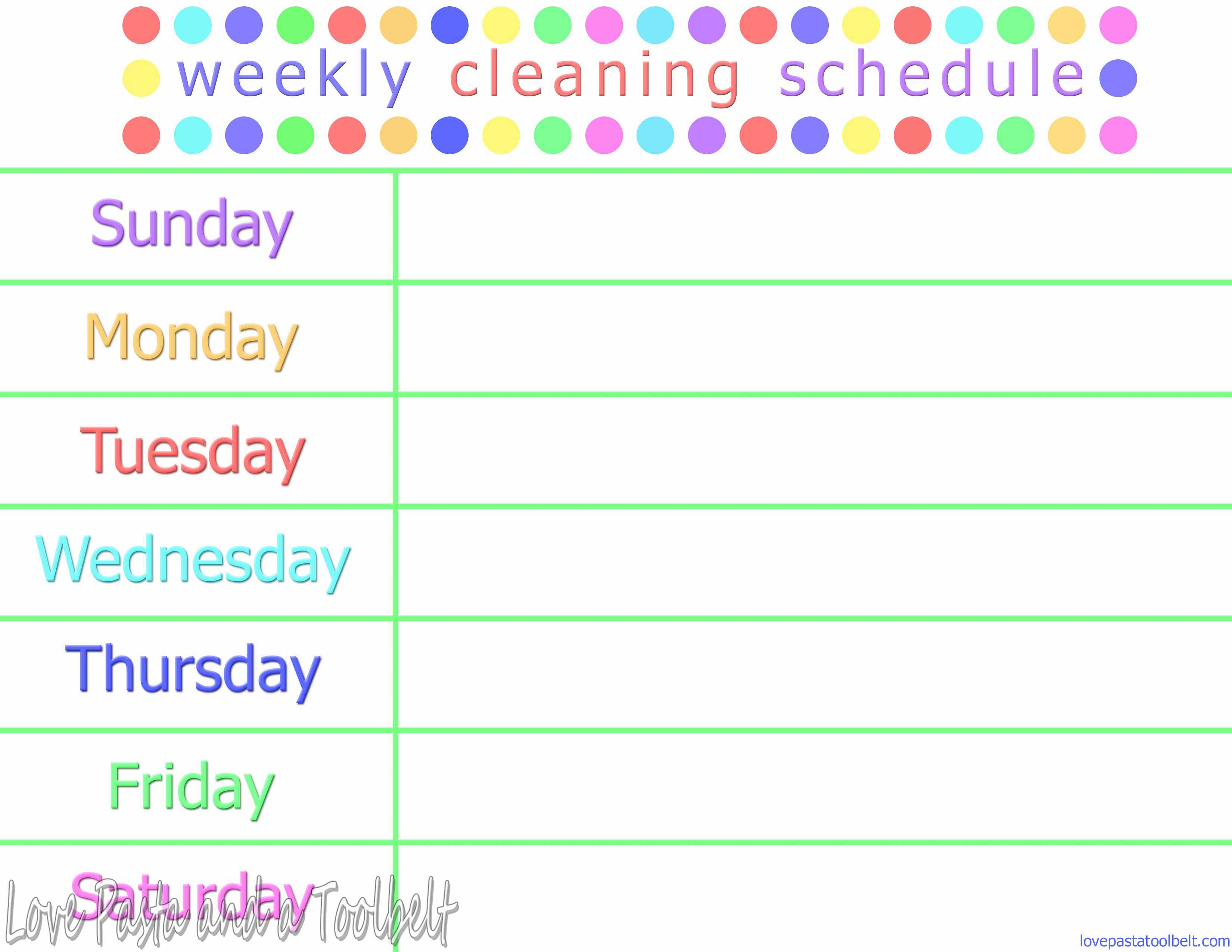 weekly routine template