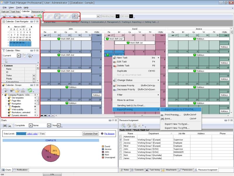 Calendar template - software for multi-user real-time calendar