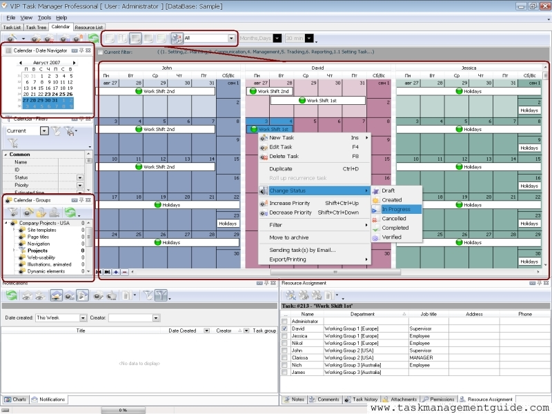 Task management software for shift managers