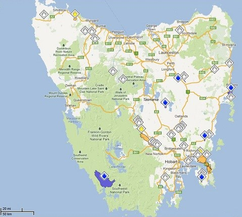 A map of the Tasmanian bushfires in 2013 during the hight of the bushfire crisis