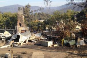 The aftermath of the Forcett Bushfire that ravaged Dunalley
