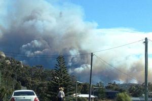 A Bushfire in Bicheno taken from the Tasman Highway