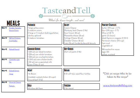 No Waste Menu Plan - Taste and Tell - weekly dinner planner with grocery list