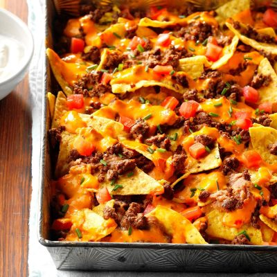 Queso Baked Nachos Recipe | Taste of Home