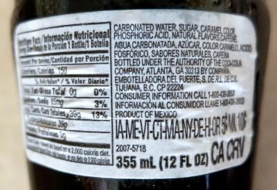 Coca Cola Ingre Nts Label