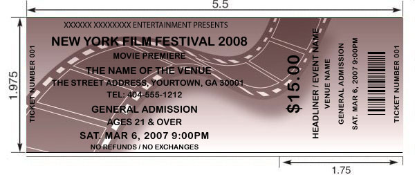 Customized film/movie tickets printed and shipped today by