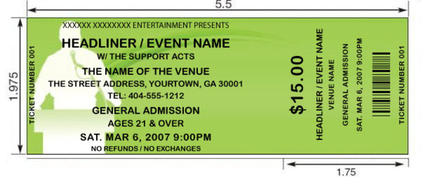 Green Podium Tickets by FreshTix Ticket Printing - print your own tickets template free