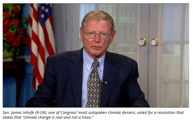 """The U.S. Senate on Wednesday voted 98-1 to approve a resolution stating that """"it is the sense of the Senate that climate change is real and not a hoax."""" Then, about 15 minutes later, the Senate rejected..."""