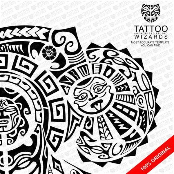 Maori Warrior of Fury Vector Tattoo Template Stencil - Tattoo Wizards - tattoo template