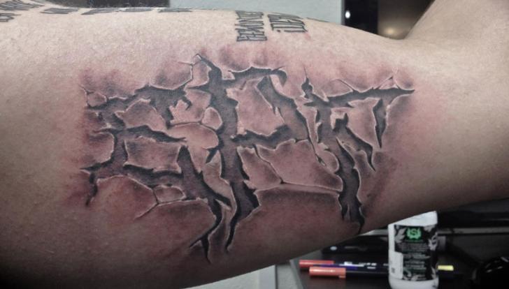 3d Stone Style Wallpaper Arm Lettering 3d Tattoo By Tattoo Nero